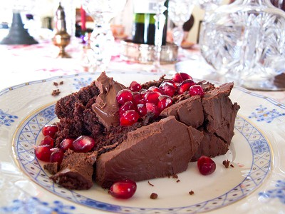 Chocolate Cake with Pomegrantes