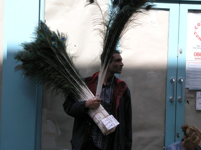 Peacock Feather Salesman on Carnaby Street