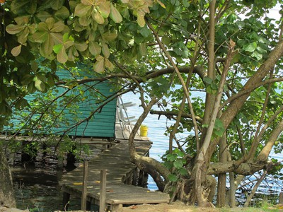 Stilt houses over the water are common with so much shoreline in these islands.