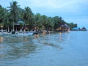 Arriving at BiBi's Restaurant by boat across the bay from Bocas Town