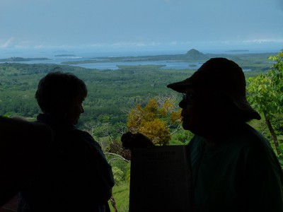 Dr. Graciela silhouetted against Chiriqui Bay