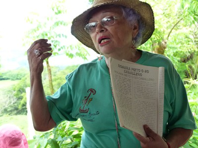 Dr. Graciela describing the book she wrote about the history of the area