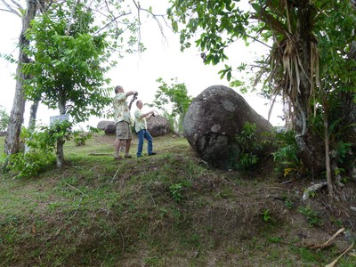 Boulders are strewn across the park