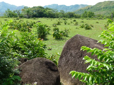 Across a field of volcanic boulders
