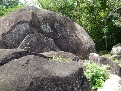 The main rock has both petroglyphs and pictographs