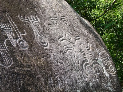 Petroglyphs are carved into the stone