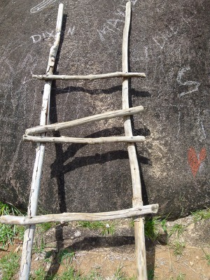 Ladder leaning against the rock